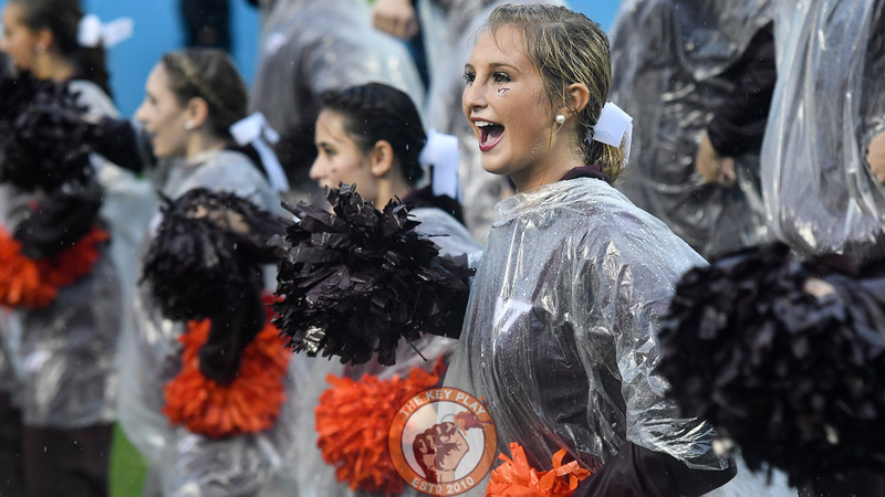A member of the Virginia Tech Hokies cheerleading squad performs in the first half. (Michael Shroyer/ TheKeyPlay.com)