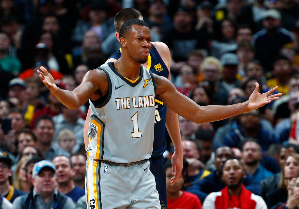 . Cleveland Cavaliers guard Rodney Hood questions an official he was called for a foul against the Denver Nuggets during the first half of an NBA basketball game Wednesday, March 7, 2018, in Denver. (AP Photo/David Zalubowski)