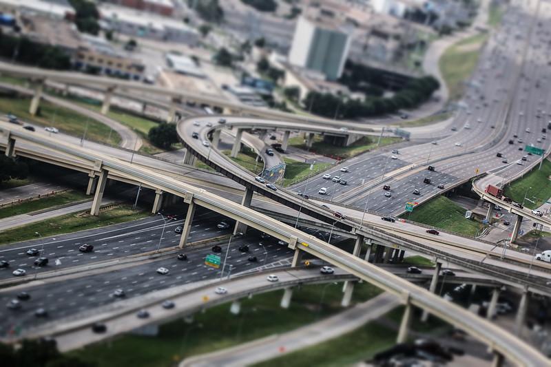 Dallas freeway interchange from Reunion Tower