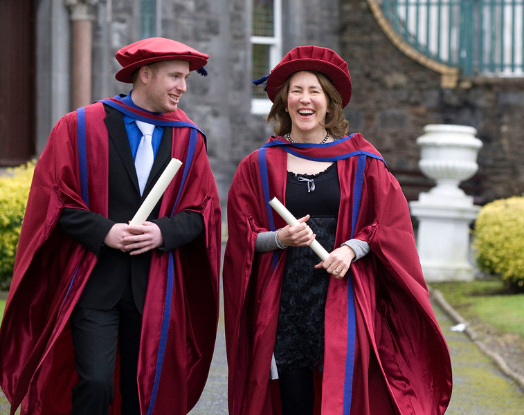 """4/1/2012. News. Waterford Institute of Technology (WIT), conferring ceremony. Pictured are Patrick Delaney, New Ross, Co Wexford and Rosemarie Kelly, Kilmacow, Co.Kilkenny who were conferred a Doctor of Philosophy. Photo Patrick Browne  Upbeat mood at WIT's conferring ceremonies  An optimistic note has been signaled by Mr Tony McFeely, Acting President of Waterford Institute of Technology (WIT), at the first of 11 conferring ceremonies across three days during which 2,652 students were conferred with academic degrees up to doctorate level.  In his conferring address, Mr McFeely said: """"We cannot ignore the dark economic clouds that have surrounded the country for the past few years. Job opportunities are not as readily available as they once were. However, your academic achievements should instill a sense of self-confidence. I would encourage you to remain positive and optimistic despite the general gloom. These times will pass; they always do.""""  """"We Irish are a resilient people; you are the potential leaders of the future so it's incumbent on you to remain strong and positive,"""" continued Mr McFeely. He urged today's graduates to remember the words of Apple founder Steve Jobs at a Stanford graduation in 2005: """"Your time is limited, so don't waste it living someone else's life. Don't be trapped by dogma, which is living with the results of other people's thinking. Don't let the noise of others' opinions drown out your own inner voice. And most important, have the courage to follow your heart and intuition.""""  WIT's Chairman, Dr Donie Ormonde, continued the positive theme in his remarks: """"In the modern economy skills and competencies are the tradable commodities that enhance your life experiences and enhance the creative edge of economic and social development. Ireland's capacity to bounce back is directly related to the education and skills infrastructure that it has built. Ireland is an international leader in educational attainment and it is this that will provide th"""