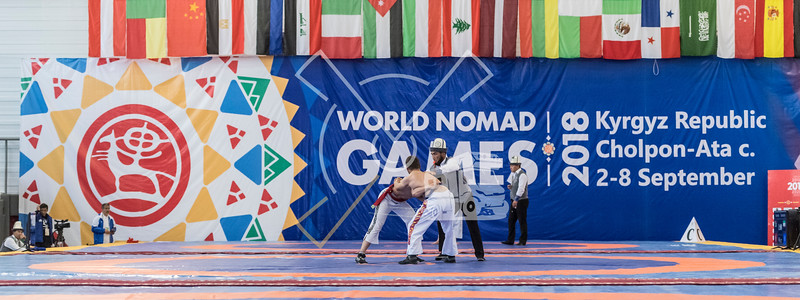Panoramic view on a Kyrgyz Kurosh game at the World Nomad Games 2018 in Kyrgyzstan.
