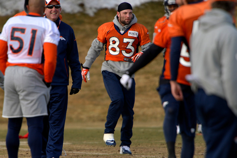 . Wide receiver Wes Welker #83 of the Denver Broncos during warm ups at practice in Centennial January 10, 2014 Centennial, Colorado. (Photo by Joe Amon/The Denver Post)