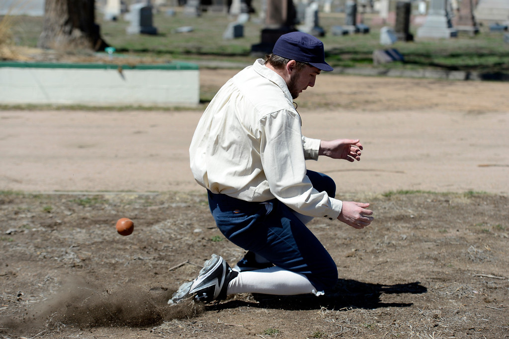 . DENVER, CO. - APRIL 14: Junior Phelan of the Central City Stars take can\'t make a catch on a fly ball hit to center field during their game against the Denver Blue Stockings in a vintage baseball game April 14, 2013 at  Riverside Cemetery in Denver. (Photo By John Leyba/The Denver Post)