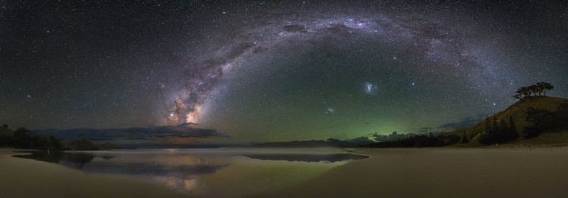 Airglow Panorama and the Magellanic Clouds