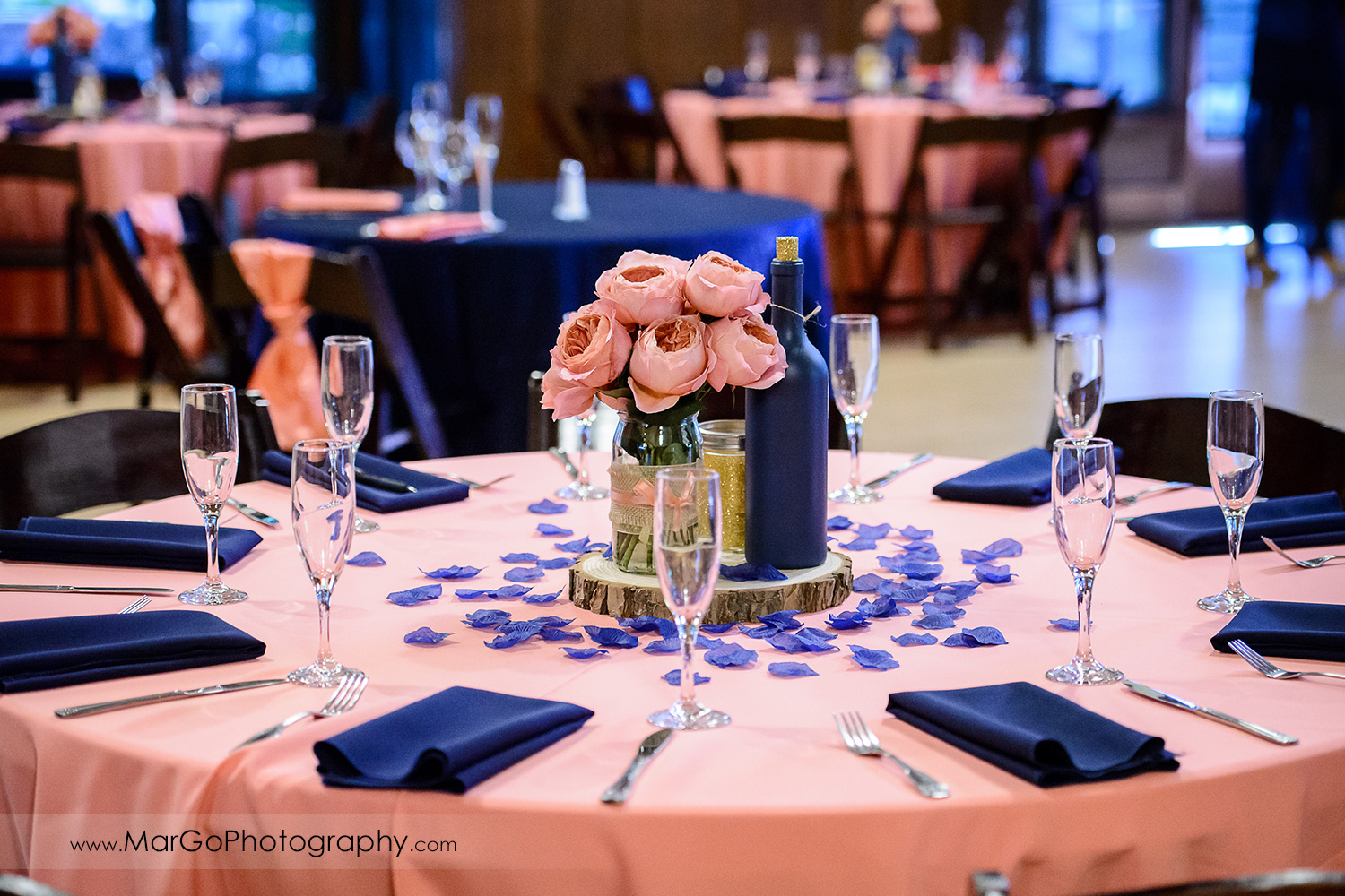pink wedding reception table decor at Saratoga Foothill Club