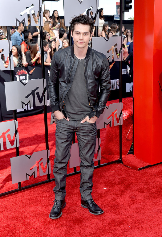. Actor Dylan O\'Brien attends the 2014 MTV Movie Awards at Nokia Theatre L.A. Live on April 13, 2014 in Los Angeles, California.  (Photo by Michael Buckner/Getty Images)