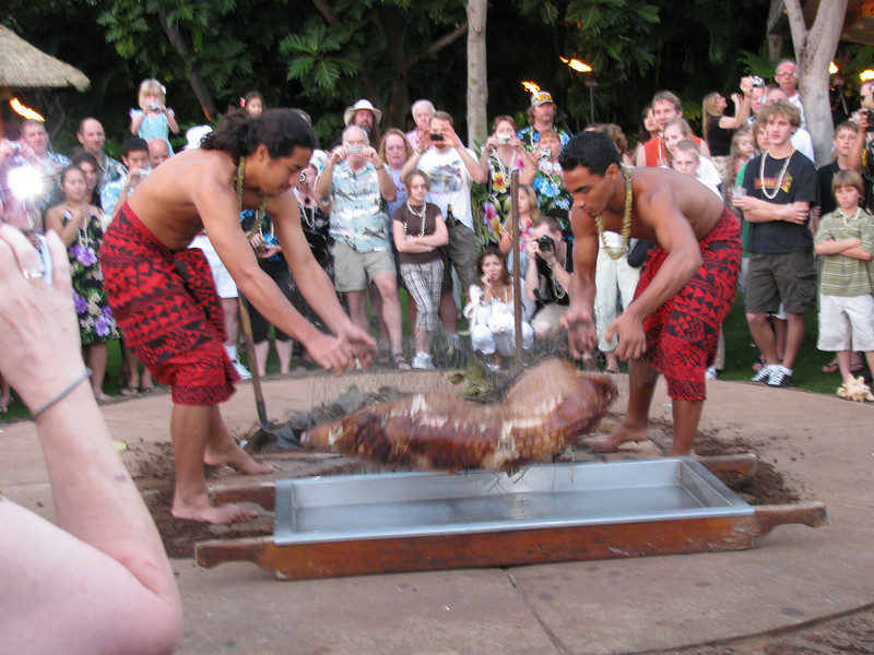 12/22 - Hale Koa luau Bringing the pig out of the ground