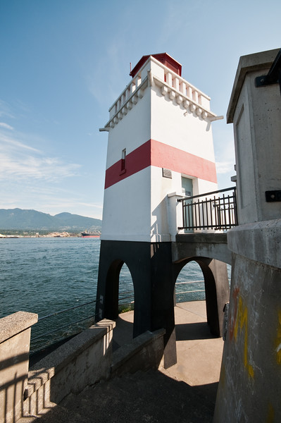 An odd little lighthouse in Stanley Park.