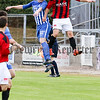 Philip Magowan Photography - Northern Ireland - 17th September 2016<br /> <br /> Northern Ireland Football League Premier Intermediate fixture - Newry City AFC v Banbridge Town.<br /> <br /> Pictured: Newry's Mark Patton rises for the ball with Banbridge's Connor Downey.<br /> <br /> Picture: Philip Magowan