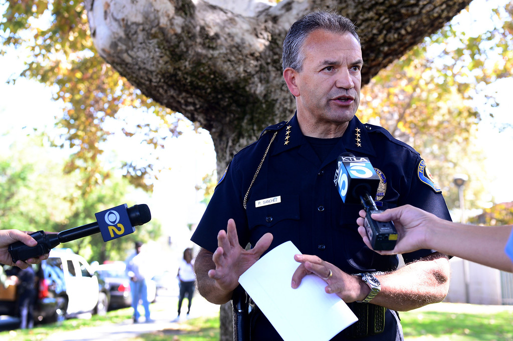 . Pasadena Police Chief Phillip Sanchez talks to the press  as Pasadena Police investigate an officer involved shooting at Kings Village in Pasadena Friday, October 11, 2013. (Photo by Sarah Reingewirtz/Pasadena-Star News)