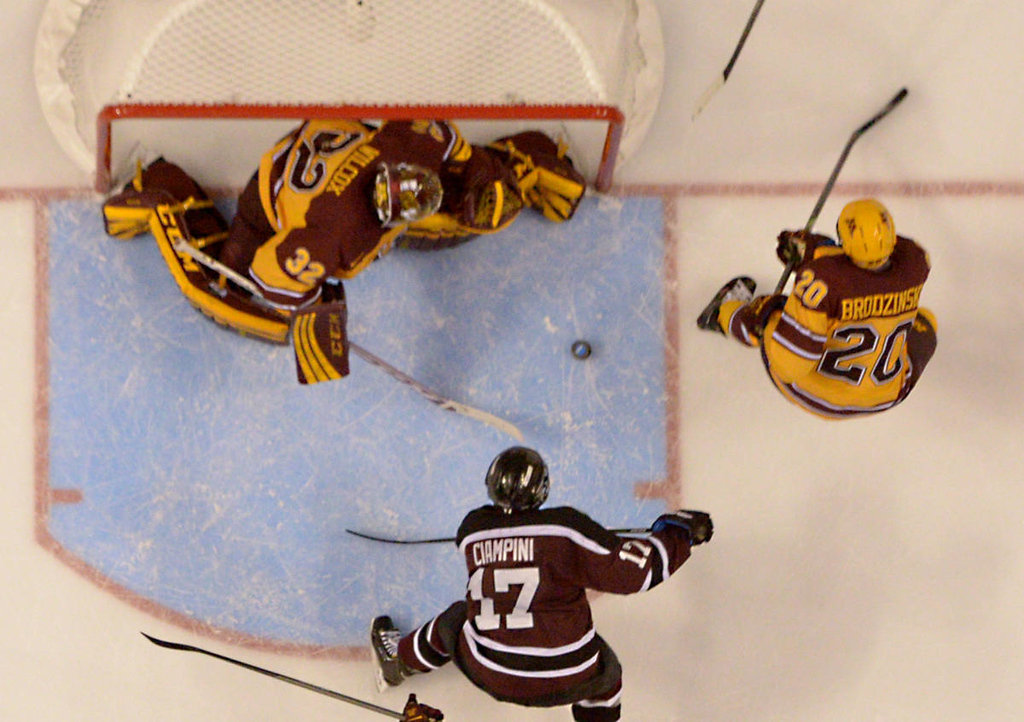 . Minnesota sophomore goalie Adam Wilcox blocks Union College junior forward Daniel Ciampini shot in the second period of the NCAA Frozen Four Championship Game at the Wells Fargo Center in Philadelphia, Saturday, April 12, 2014. Union College beat the Gophers 7-4 to claim the national championship.  (Pioneer Press: John Autey)
