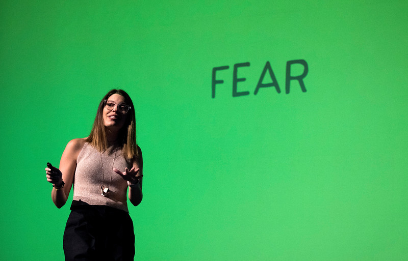 "LANCASTER, OHIO   MARCH 23, 2018: Michelle Poler, founder of Hello Fears, talks about how she faced 100 of her fears in 100 days in the Wagner Theatre as one of the keynote speakers during the Celebrate Women Conference 2018, themed ""Recognizing Our Superpowers"" on March 23, 2018 at Ohio University Lancaster in Lancaster, Ohio.  Ty Wright photo"