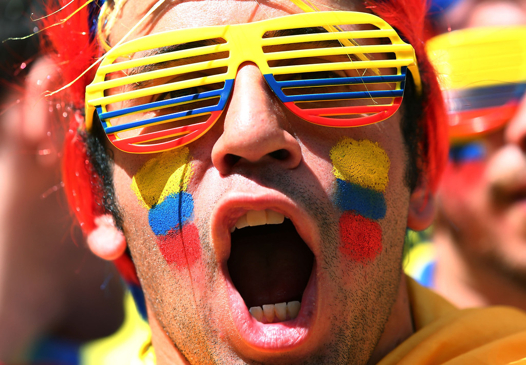 . An Ecuador fan cheers prior to the 2014 FIFA World Cup Brazil Group E match between Switzerland and Ecuador at Estadio Nacional on June 15, 2014 in Brasilia, Brazil.  (Photo by Clive Brunskill/Getty Images)