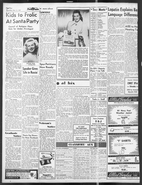 Daily Trojan, Vol. 39, No. 61, December 11, 1947