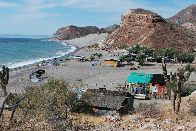 a fish camp along the exciting coast line north of San Juan de la Costa
