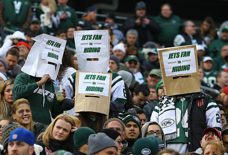 . New York Jets fans express their displeasure during their game against the Arizona Cardinals at at MetLife Stadium on December 2, 2012 in East Rutherford, New Jersey.  (Photo by Al Bello/Getty Images)