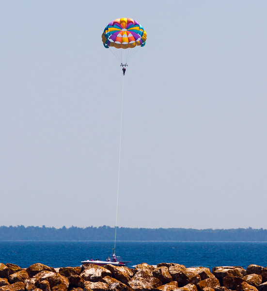 Here is another parasailer, just outside the Mackinac harbor.