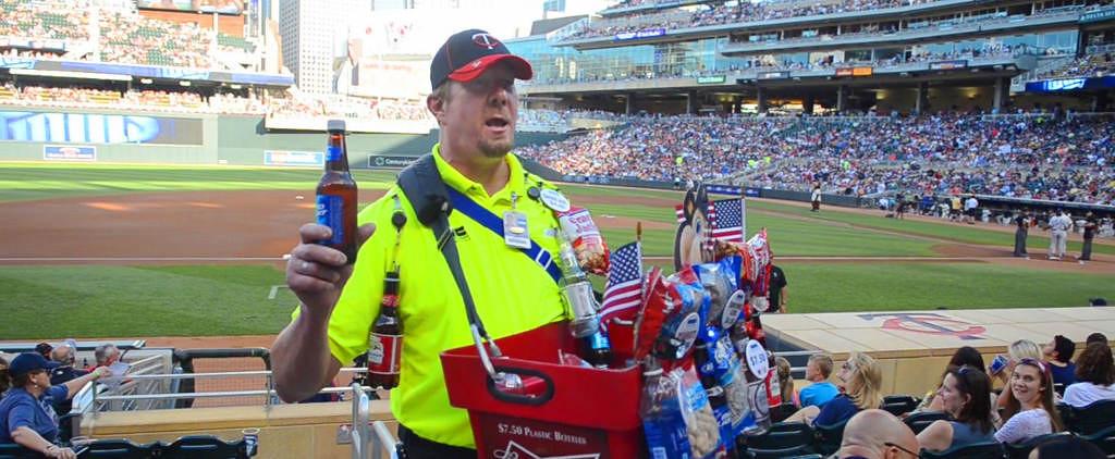 . Mark Carlson, a beer vendor at Target Field, works the crowd. (Pioneer Press: C.J. Sinner)