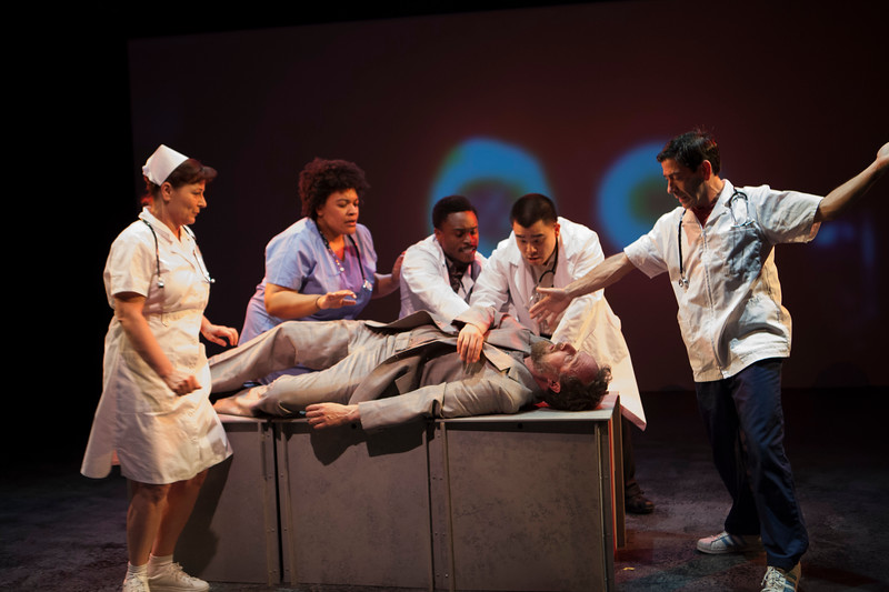 """L-R  Delia MacDougall, Indiia Wilmott, Ryan Williams French, Phil Wong, Gendell Hernández, Cassidy Brown.  """"Code Blue.""""  Word for Word's Lucia Berlin: Stories; photo credit, Julie Schuchard"""