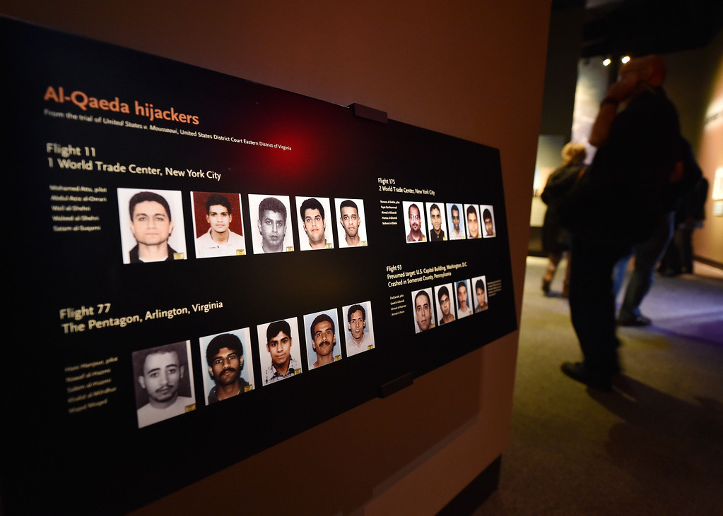 . A display showing the Al-Qaeda hijackers, is seen during a press preview of the National September 11 Memorial Museum at the World Trade Center site May 14, 2014 in New York. AFP PHOTO/Stan HONDA/AFP/Getty Images