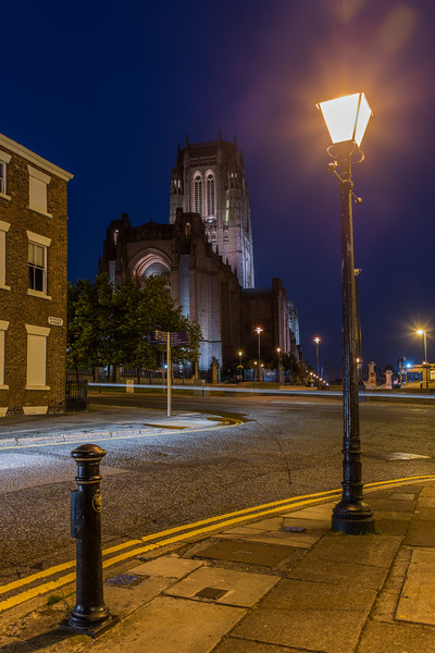 Night view from Rodney Street of Liverpool Anglican Cathedral