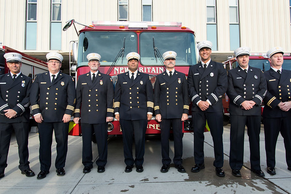 11/14/18 Wesley Bunnell | Staff The New Britain Fire Department unveiled three new fire trucks on Wednesday afternoon during a ceremony at their Beaver St headquarters. Cpt. Gary Turek, Deputy Chief Scott Morgan, Deputy Chief Peter Margentino, Chief Raul Ortiz, Deputy Chief Paul Walsh, Captain Ricardo Mickens, Captain Paul Couture and Fire Marshal Donald King.