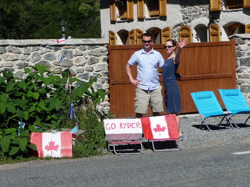 """Some Canadians supporting Ryder Hesjedal during the """"Bourg-d'Oisans to Saint-Étienne"""" stage. Location - outside Bourg-d'Oisans"""