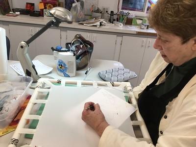 Mary S., Pat P. Intro to Silk Painting Nov 22, 2016