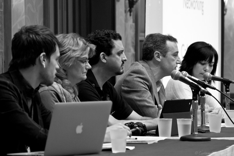 """Workshop: """"Coalition Building for the Skeptical Activist"""" - Panel from L-R: Chris Stedman, Kitty Mervine, Dave Silverman, David Niose, Sharon Hill"""