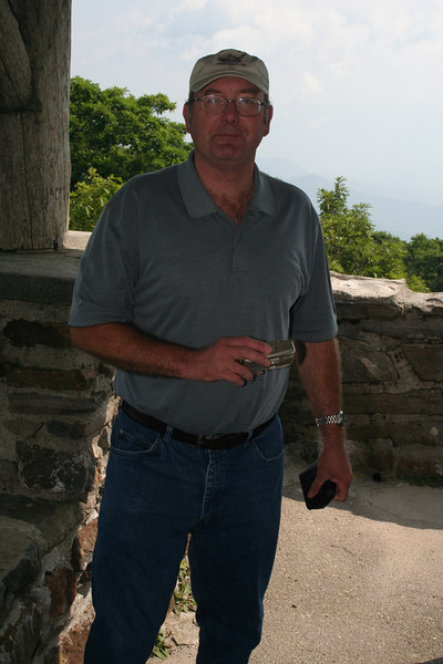 Dad in lookout tower at Wayah Bald overlook: 5,349 ft; Macon Co, NC