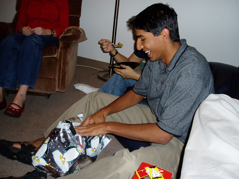 Varun's excited about his gift.JPG