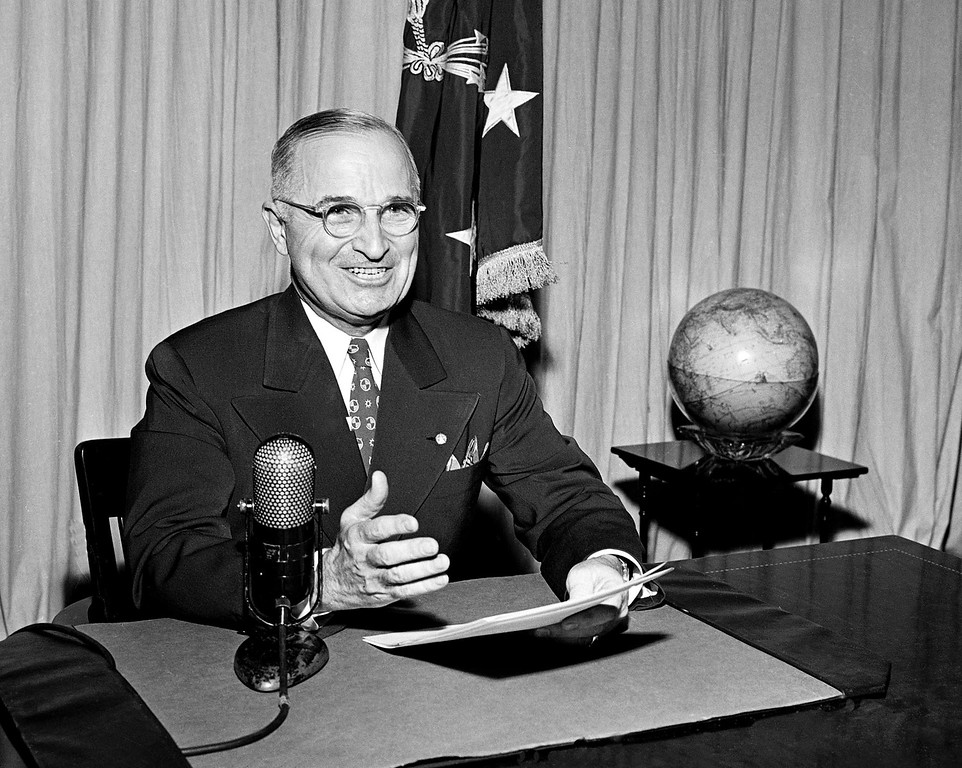 . 1945: Harry S. Truman. Then-U.S. President Harry Truman sits before a microphone at the White House in Washington, where he broadcast a message on the formal surrender of Japan on Sept. 1, 1945. (AP Photo, File)