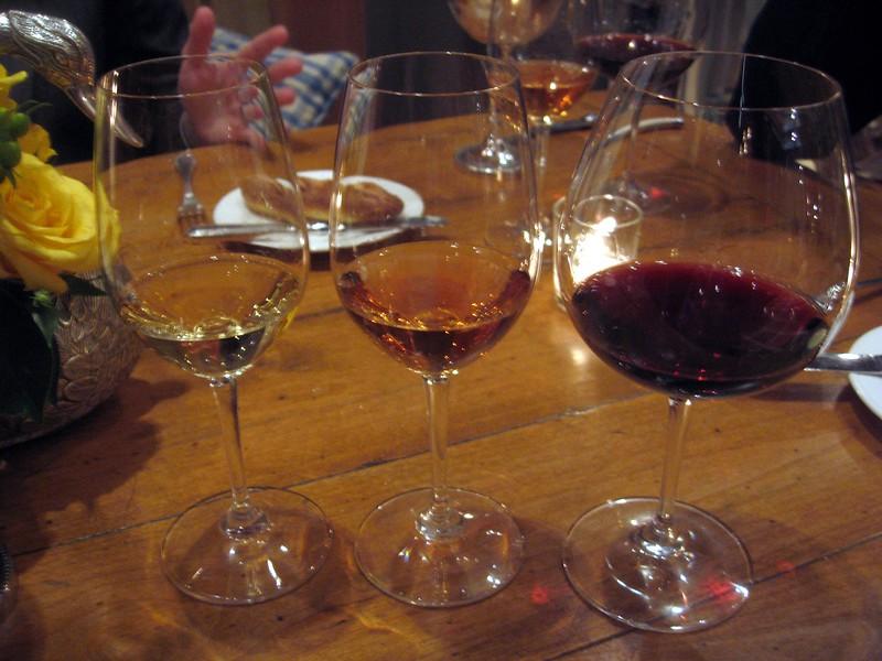 Three of the paired wines.  From left: Treana, Marsanne/Viognier, Paso Robles, Central Coast, California (2008); Lopez de Heredia, Vina Todonia, Rosé, Rioja, Spain (2000); Silvio Nardi Brunello di Montalcino, Tuscany, Italy (2004)