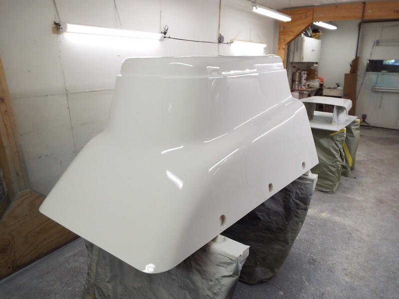 Rear starboard view of the painted engine box.