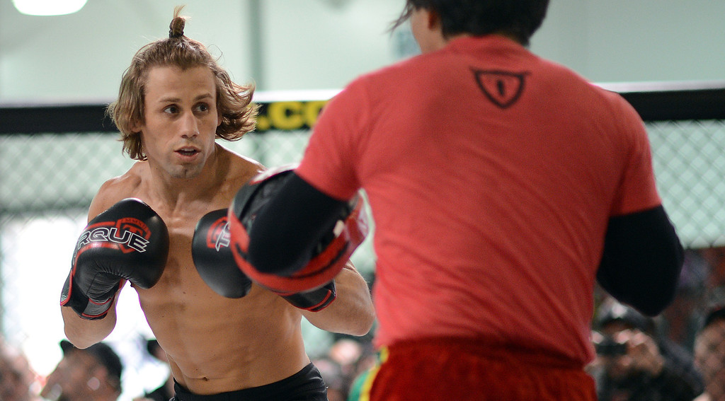 . UFC fighter Urijah Faber during an open workout at the UFC Gym in Torrance, CA Wednesday, February 20, 2013. (Hans Gutknecht/Staff Photographer)