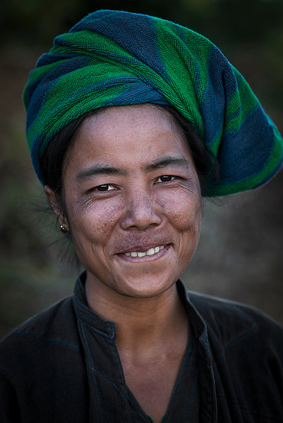portrait of a woman from the Pa o ethnic group.  Myanmar, 2017.