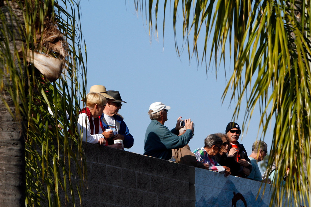 . A crowd watches the public race portion of the Redlands Bicycle Classic on Saturday, April 5, 2014 in Redlands, Ca. (Photo by Micah Escamilla for the Redlands Daily Facts)