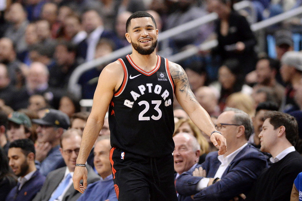 . Toronto Raptors guard Fred VanVleet (23) reacts during a break in play during the second half of the team\'s NBA basketball game against the Cleveland Cavaliers on Thursday, Jan. 11, 2018, in Toronto. (Frank Gunn/The Canadian Press via AP)