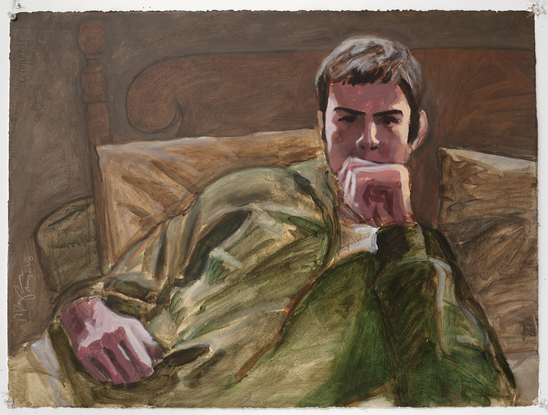 John reclining 2; acrylic on paper, 22 x 30 in, 2010