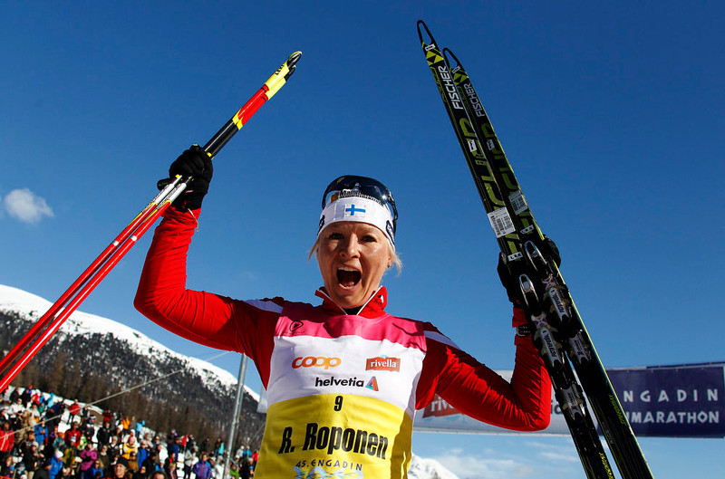 . First placed woman Riitta-Liisa Roponen of Finland reacts after the Engadin Ski Marathon in S-chanf March 10, 2013. More than 12,000 skiers participated in the 42.2 km (26.2 miles) race between Maloja and S-chanf near the Swiss mountain resort of St. Moritz. REUTERS/Michael Buholzer