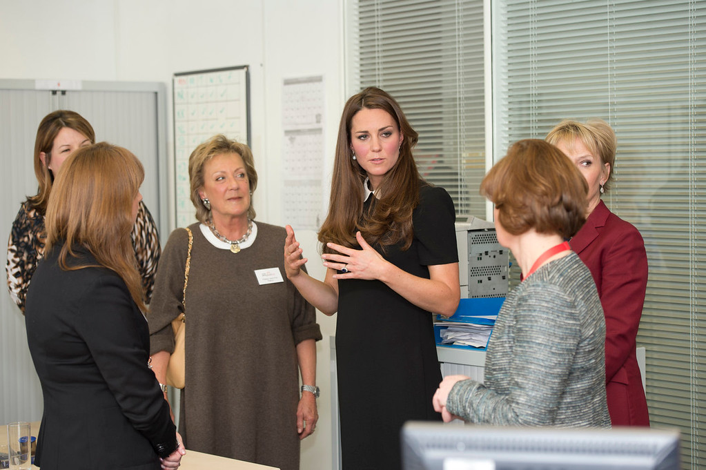 . Catherine, Duchess of Cambridge chats to the bereavement services team as she visits the offices of Child Bereavement UK on March 19, 2013 in Saunderton, Buckinghamshire.  (Photo by Paul Edwards - WPA Pool/Getty Images)