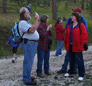 There's always a chance to visit with old friends and catch up on recent activities before the hike begins.  Most of the Moon Walks are only a mile or so round-trip -- and the September trek to Deerfield Reservoir was less than 900 yard round-trip!