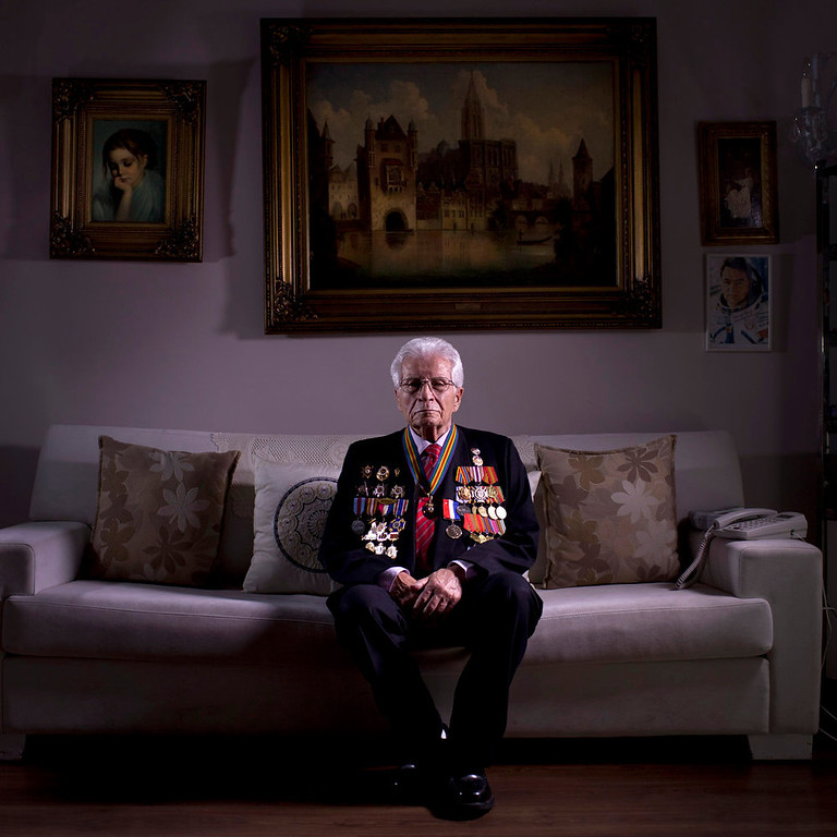 . Soviet Jewish World War Two veteran Shalom Skopes, 88, poses for a portrait at his house in Tel Aviv, Israel.  Skopes was a battalion commander in the Red Army, and fought in Latvia. During a battle he was injured by a hand grenade and was hospitalized until May 25, 1945, when Skopes demobilized in 1947 and immigrated to Israel in 1959. About 500,000 Soviet Jews served in the Red Army during World War Two, and the majority of those still alive today live in Israel.   (AP Photo/Oded Balilty)