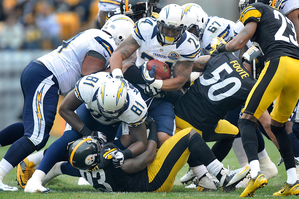 Description of . San Diego Chargers running back Ryan Mathews (24) runs into the line as tight end Randy McMichael (81) blocks Pittsburgh Steelers outside linebacker Jason Worilds (93) in the first quarter of an NFL football game on Sunday, Dec. 9, 2012, in Pittsburgh. (AP Photo/Don Wright)