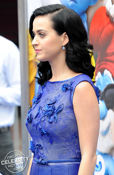 Smurfette! Katy Perry Shined In A Chic Sheer Floral Lace Bodice!