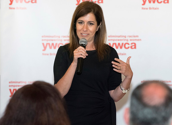 06/11/19 Wesley Bunnell | Staff The YWCA held their annual meeting at the Back Nine Tavern at Stanley Golf Course on Tuesday evening. The event recognized outstanding volunteers, the organizations success as well as recognition for outgoing Executive Director Robin Sharp who is shown addressing the audience.