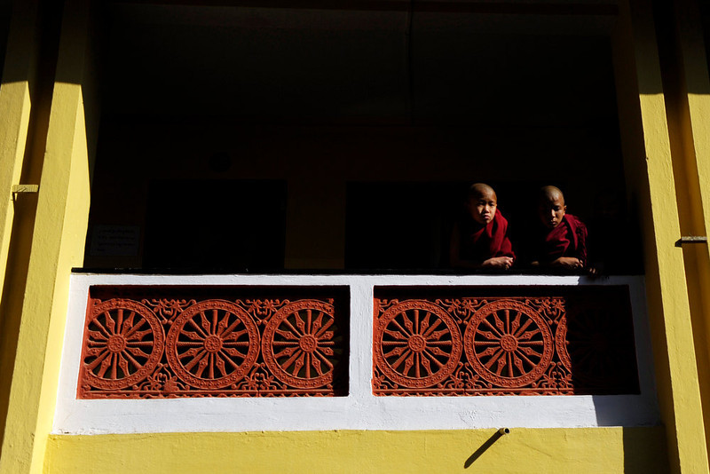 . Young Tibetan monks in exile observe prayers marking the third day of Losar, the Tibetan new year, in Kathmandu on February 13, 2013. A Tibetan monk doused himself in petrol in a Kathmandu restaurant on Wednesday and set himself on fire, marking the 100th self-immolation bid in a wave of protests against Chinese rule since 2009. PRAKASH MATHEMA/AFP/Getty Images