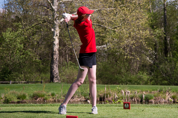 05/8/19 Wesley Bunnell | Staff Berlin girls golf defeated New Britain at Timberlin Golf Course on Wednesday afternoon. Berlin's Jenna Smalley with her tee shot on a par three.