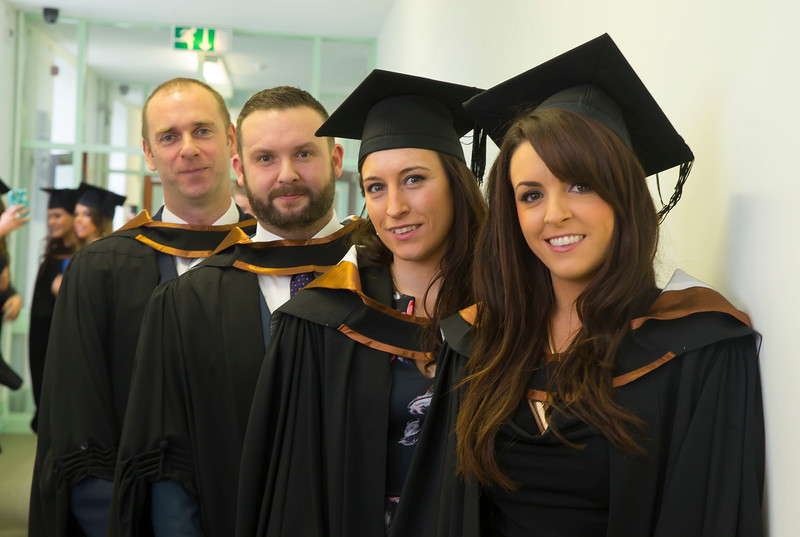29/10/2015. Waterford Institute of Technology conferring. Pictured are Donnachadh Naughton, Tramore, Robert Collins-Hughes, Kilkenny, Michelle Ball, Kilkenny and Aine Maher, Kilkenny who graduated Bs (Hons) in Psychiatric Nursing. Picture: Patrick Browne