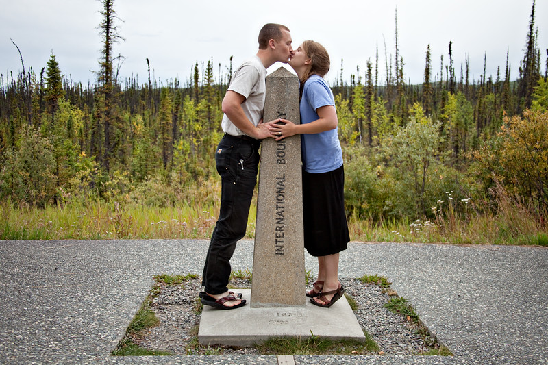 August 23, 2012. Day 230.  Kissing in two countries at once!  Northern Canada and Alaska